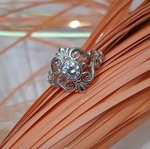 《NEW》silver fleur de lis vines CZ ring
